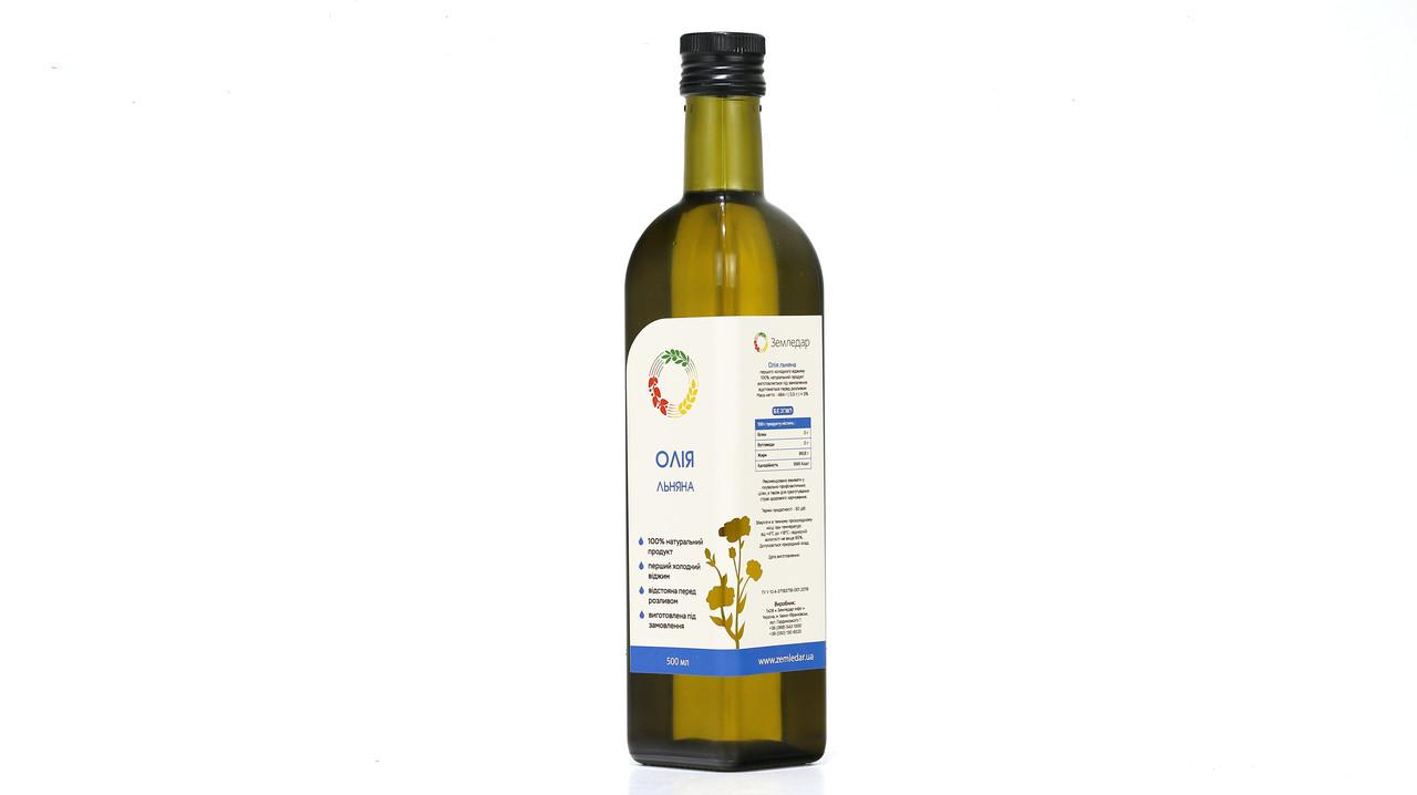 Лляна олія 0,5 л сертифікована без ГМО сиродавлена холодного віджиму