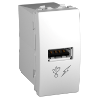 Розетка USB. 5V DC 1A. (1 модуль) белая Schneider Electric - Unica (Шнейдер Электрик Уника  MGU3.428.18), фото 1