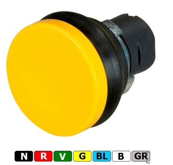 New Elfin, Кнопка-грибок без фіксації, d=40, цоколь - круглий, пластиковий, ne020PFSGBL