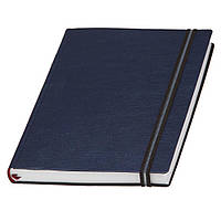 Ежедневник А5 Дакар Премиум Эластик недатированный, белый блок, синий металлик