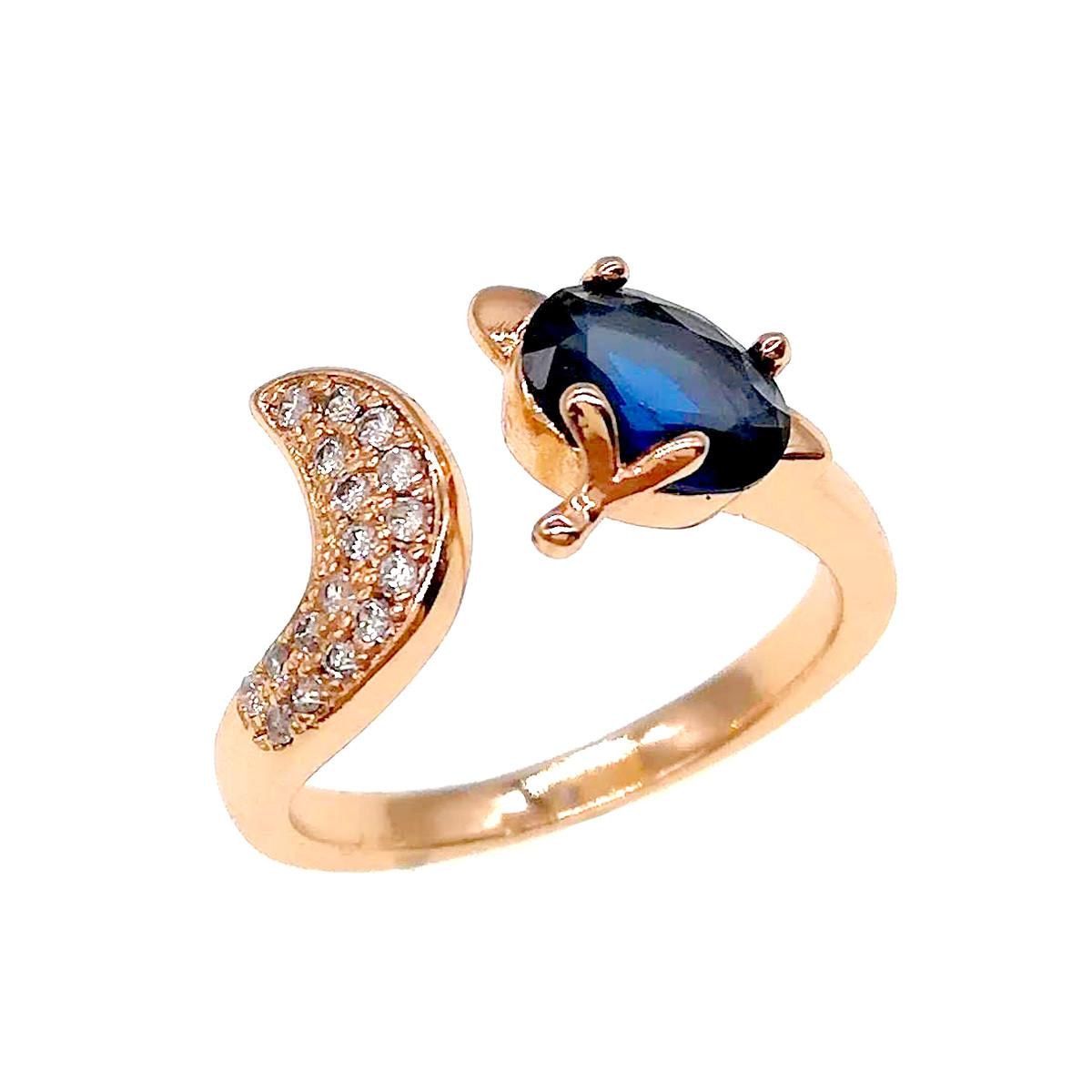 Кольцо Xuping из медицинского золота, синие и белые фианиты, позолота 18К, 11819       (Безрозмірна)