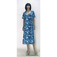 Платье батал из хлопковой ткани с карманами Цветы 54-64 р