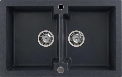 Кухонная мойка Kernau KGS A 80 2B BLACK METALLIC
