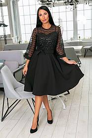 Нарядное платье-клёш из крепа + дорогой гипюр, накидка из гипюра, рукава клёш и пояс  (46-54)