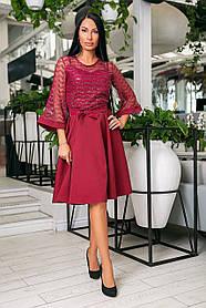 Нарядное платье-клёш из крепа + дорогой гипюр, накидка из гипюра, рукава клёш и пояс  (46-54) Бордо
