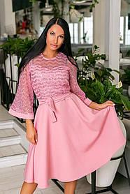 Нарядное платье-клёш из крепа + дорогой гипюр, накидка из гипюра, рукава клёш и пояс  (46-54) Пудра