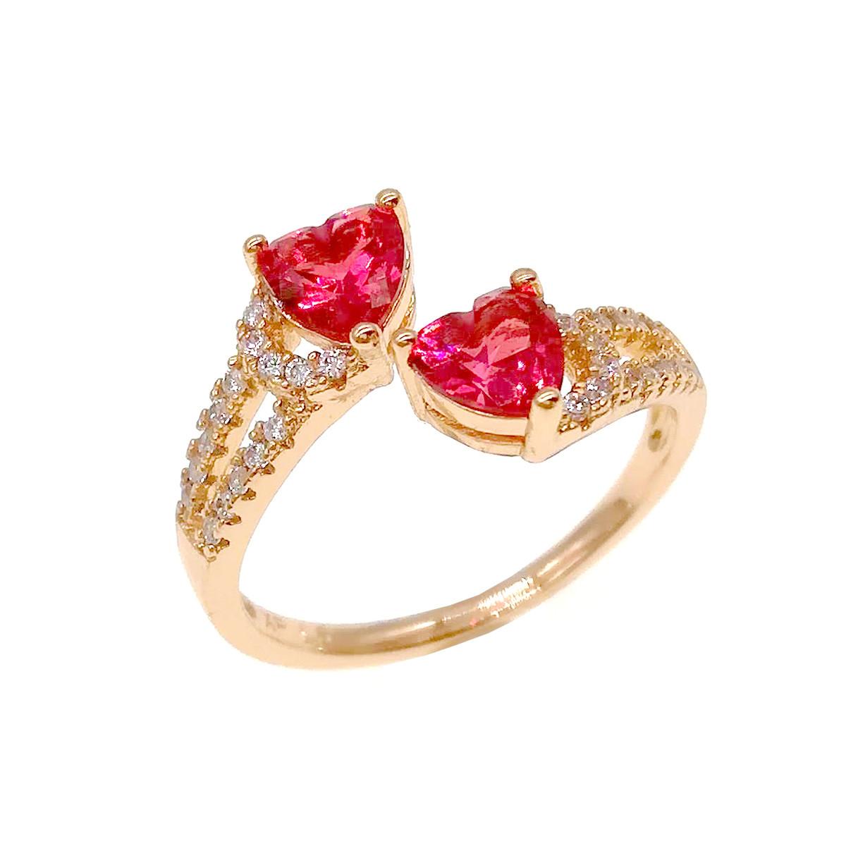 Кольцо Xuping из медицинского золота, красные и белые фианиты, позолота 18К, 11820       (Безрозмірна)