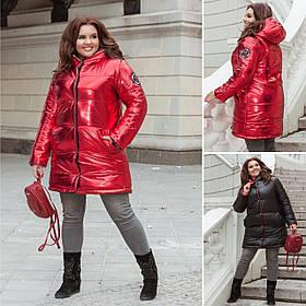 Тёплая двусторонняя женская куртка из стёганной плащевке на синтепон 250, застёжка кнопки (48-58) Чёрный/красный