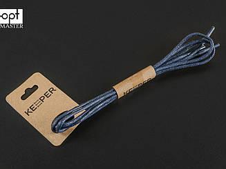 Шнурки (в упаковке) круглые вощеные 2 мм, 90 см, цв. тёмно-синий