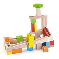"""Детская деревянная игрушка конструктор-лабиринт Viga Toys """"Занимательные горки"""" (49 кубиков)"""