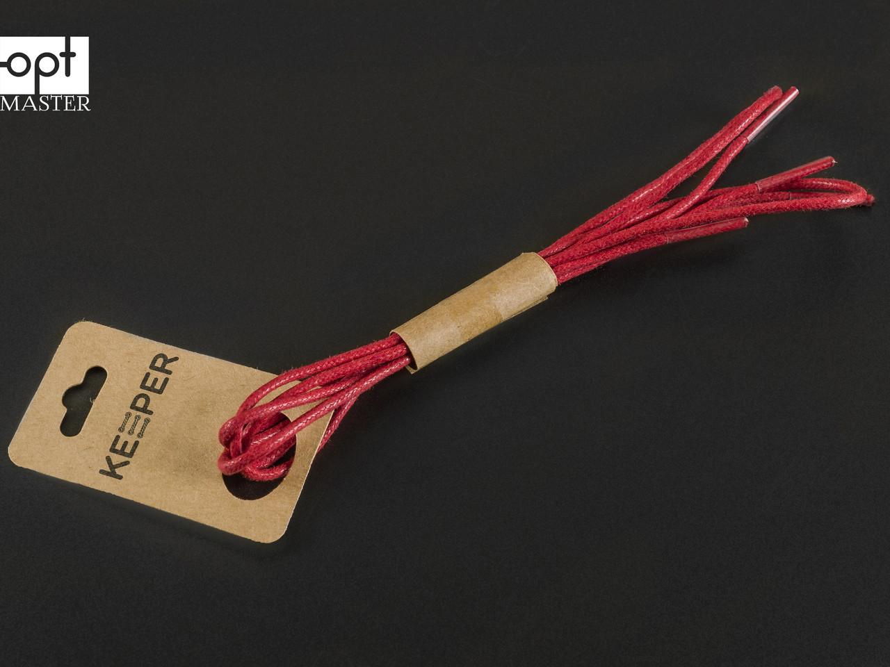 Шнурки (в упаковке) круглые вощеные 2 мм, 90 см, цв. красный