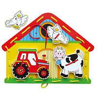 """Детская деревянная игра шнуровка сортер для развития мелкой моторики Viga Toys """"Ферма"""""""