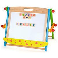 Детская развивающая обучающая Магнитная доска двусторонняя Viga Toys с математическими символами и цифрами
