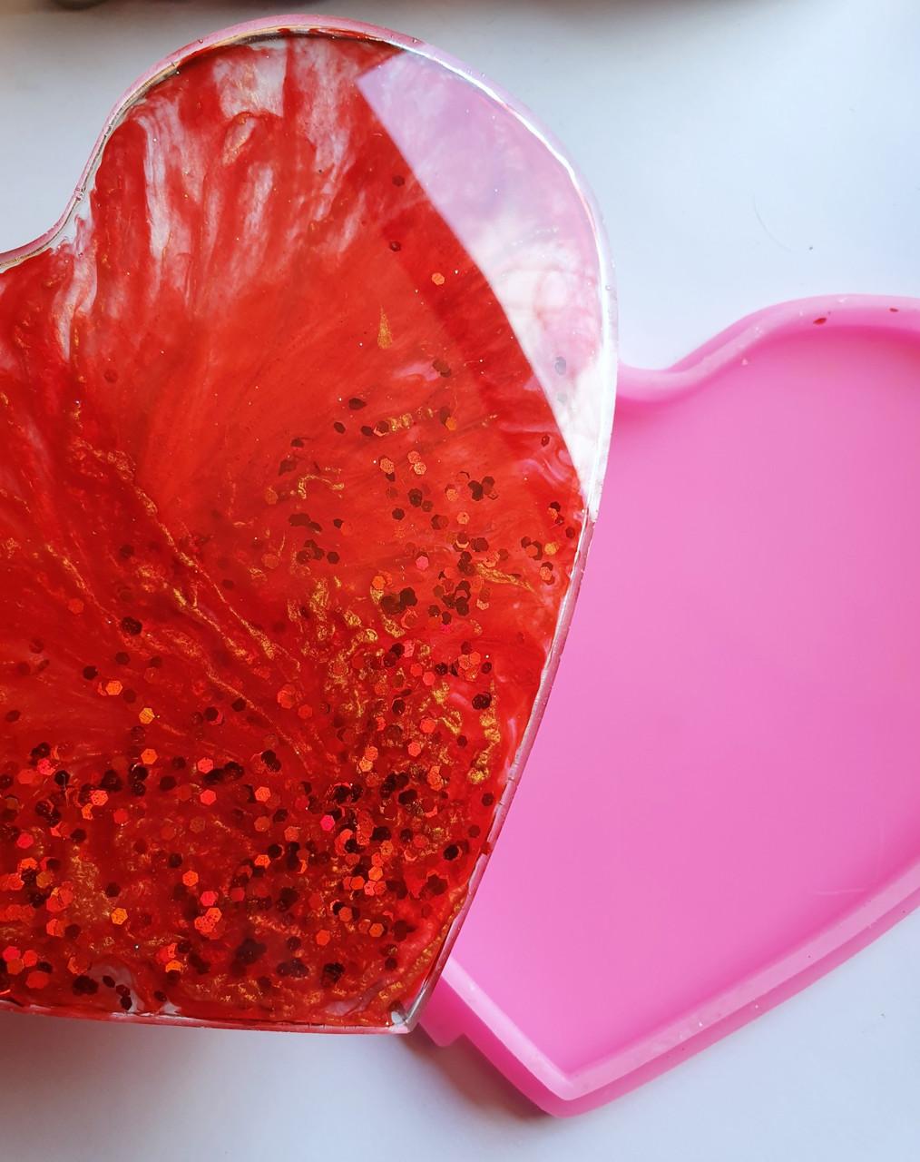 Брокат красный крупный для декора смолы, глиттер макро 1мм