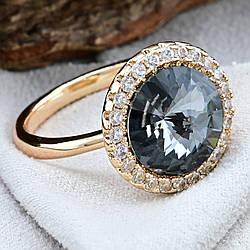 Кольцо Xuping с кристаллами Swarovski 83187 размер 17 ширина 15 мм цвет серебряная ночь позолота 18К