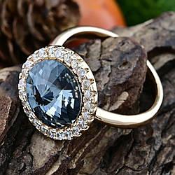 Кольцо Xuping с кристаллами Swarovski 83187 размер 18 ширина 15 мм цвет серебряная ночь позолота 18К