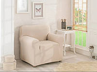 Чехол для кресла Karna без оборки Молочного цвета