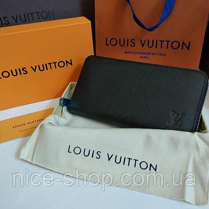 Кошелек Louis Vuitton кожаный черный на молнии, фото 2