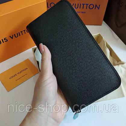 Кошелек Louis Vuitton кожаный черный на молнии, фото 3
