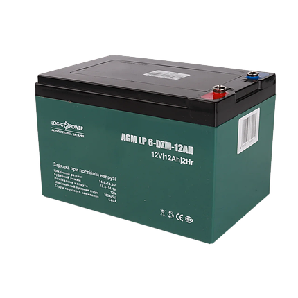 Тяговый аккумулятор глубокого цикла AGM LogicPower LP 6-DZM-12 (12В, 12Ач), фото 2