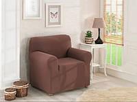 Чехол для кресла Karna без оборки Коричневого  цвета
