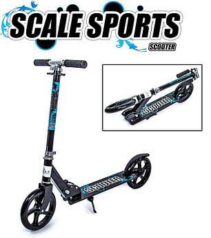 Двухколесный складной металлический самокат Scale Sports Scooter 460. Чёрный