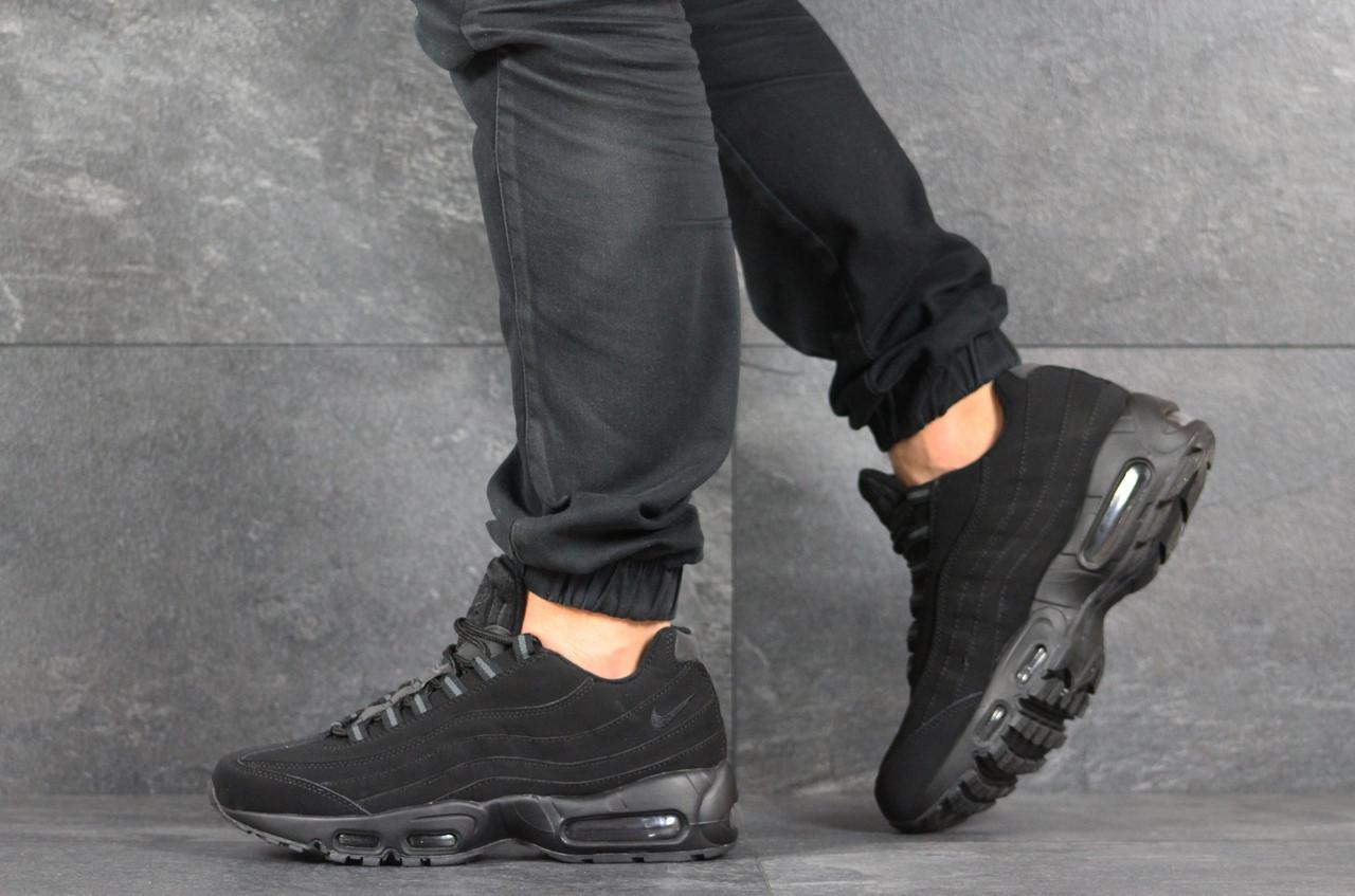 Кроссовки мужские Nike Air Max 95,черные,нубук