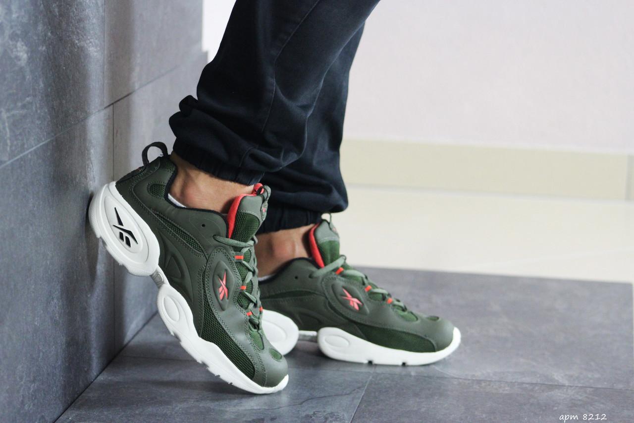 Мужские кроссовки Reebok кожаные,темно зеленые