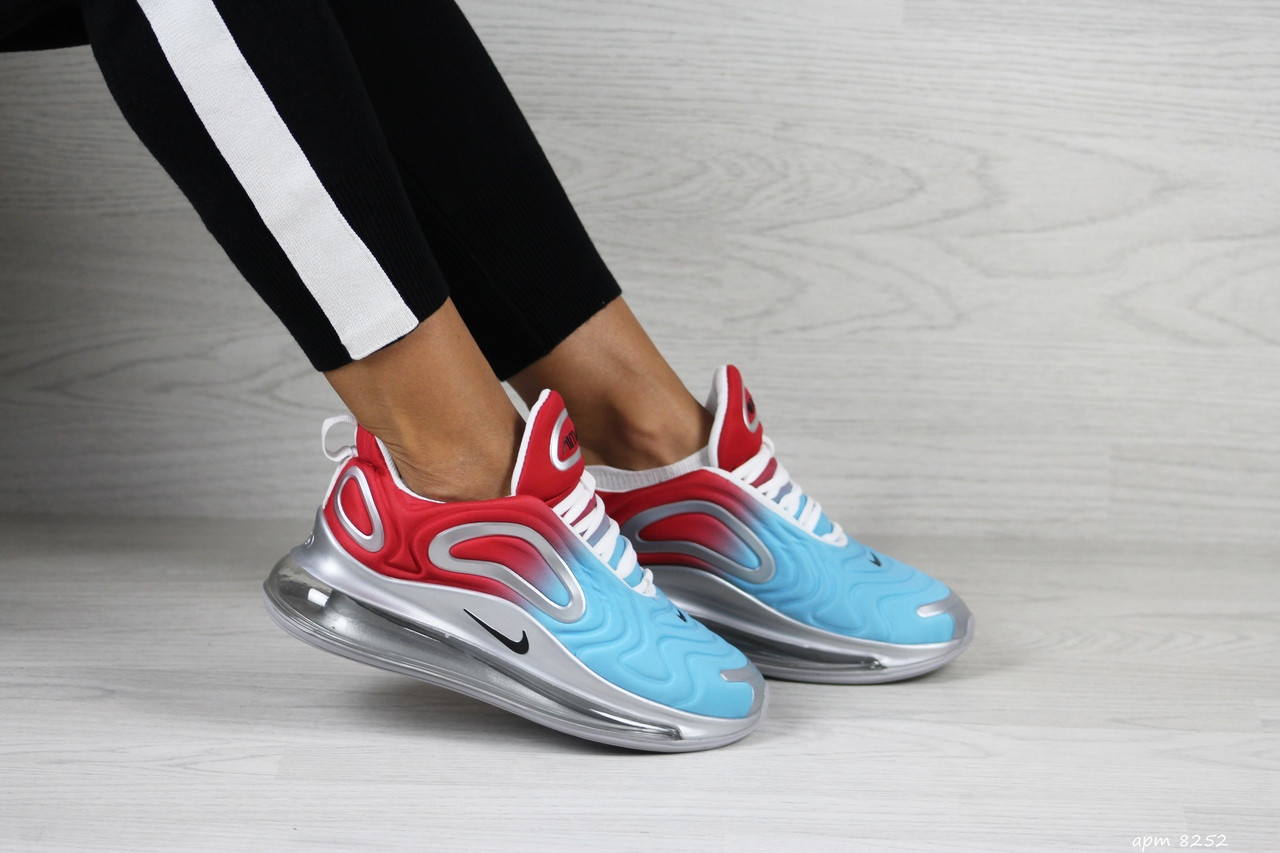 Модные женские кроссовки Nike Air Max 720, голубые с красным