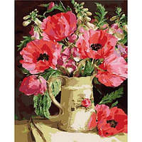 """Картины по номерам, холст на подрамнике, Цветы """"Букет из маков и акации"""" 40*50 см в коробке"""