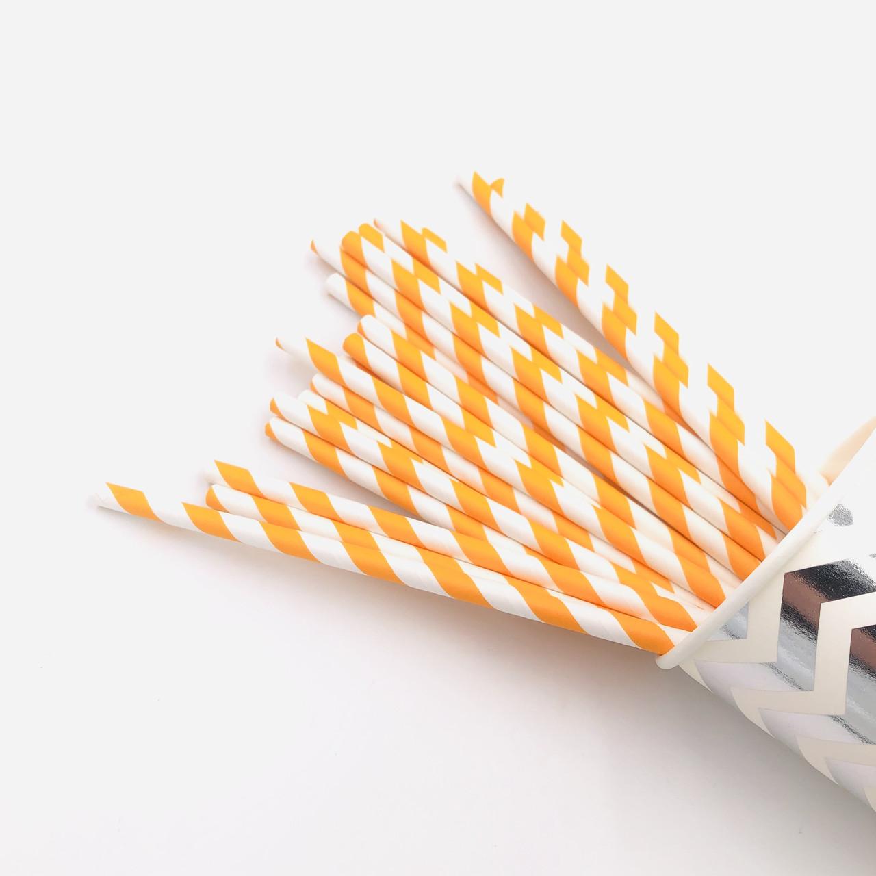 Бумажные трубочки для напитков 25 штук оранжевые шеврон