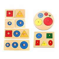 Деревянные Геометрические Головоломки Детские Развивающие Головоломки Укладчик Малышей Головоломки Игрушки для Детей Подарки-1TopShop
