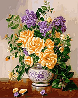 """Картины по номерам, холст на подрамнике, Цветы """"Желтые пионы и сирень в вазе"""" 40*50 см в коробке"""