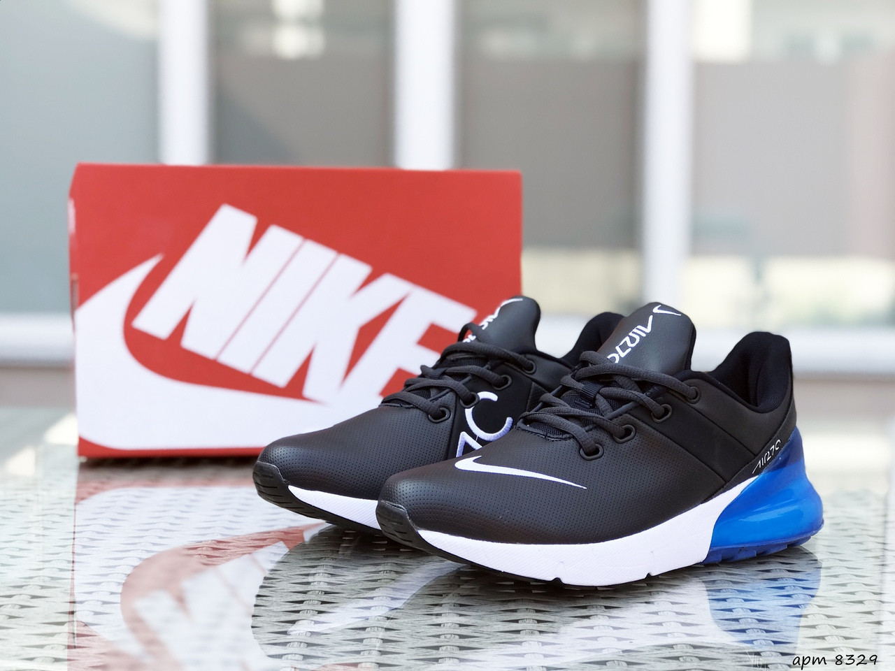 Мужские кроссовки Nike Air Max 270,темно синие с голубым