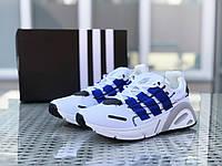 Кроссовки мужские Adidas LXCON плотная сетка,белые с синим, фото 1