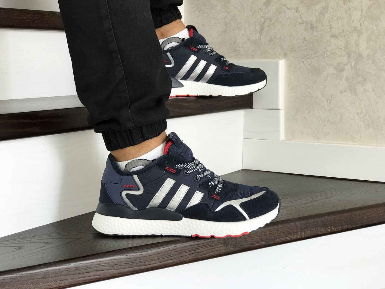 Мужские кроссовки Adidas Nite Jogger Boost,темно синие с белым