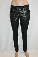 Брюки-лосины женские Пропитка,под кожу стрейч в обтяжку  черные