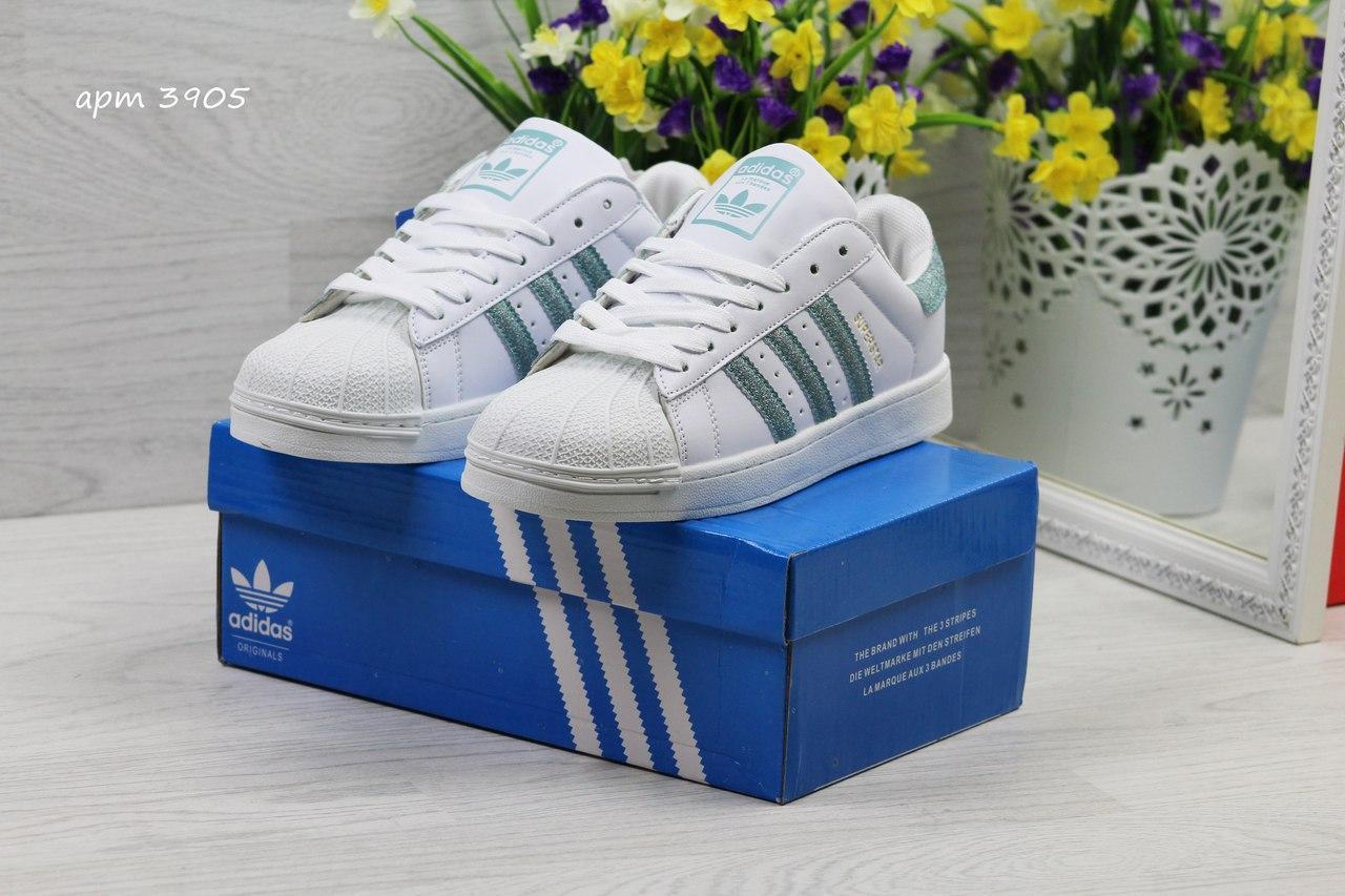Кроссовки Adidas Superstar белые с зеленым 37h