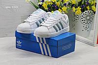 Кроссовки Adidas Superstar белые с зеленым 37h, фото 1