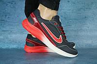 Мужские кроссовки Nike темно синие с красным,кожаные, фото 1