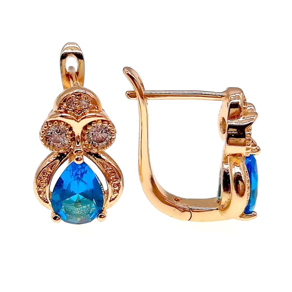 Серьги Xuping из медицинского золота, голубые и белые фианиты, позолота 18К, 23660 (1)