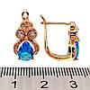 Серьги Xuping из медицинского золота, голубые и белые фианиты, позолота 18К, 23660 (1), фото 2