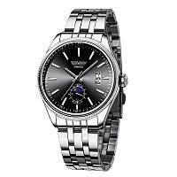 Часы мужские SWIDU SWI-028 Silver + Black из нержавеющей стали модные для мужчин с кварцевым механизмом