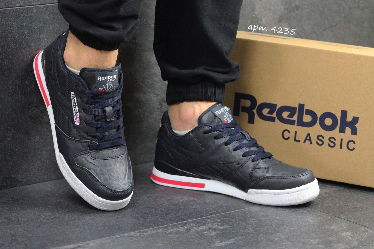 Мужские кроссовки Reebok Pro Ny,кожаные,темно синие с белым