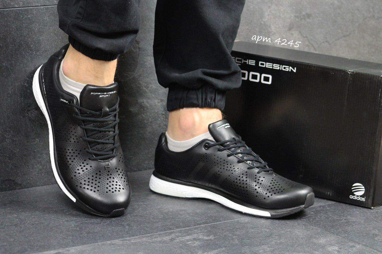 Мужские кожаные кроссовки Adidas Porsche Design P 5000,черно-белые