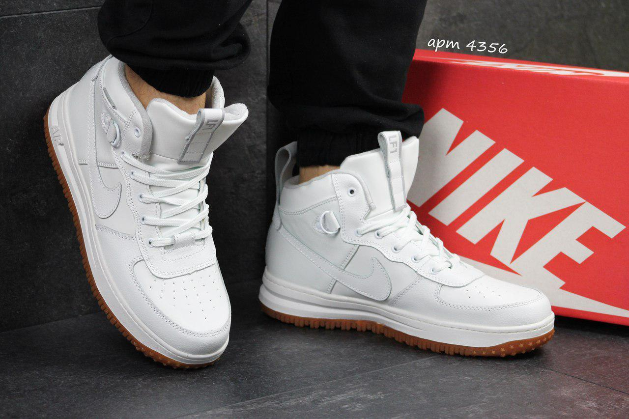 Высокие кожаные кроссовки Nike Lunar Force 1,белые (Индонезия)