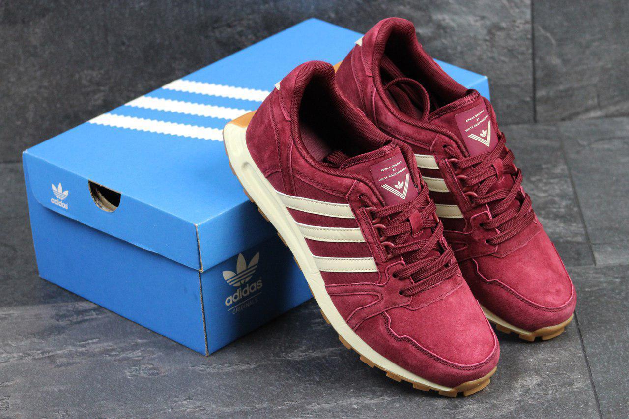 Мужские кроссовки Adidas Neo,замшевые,бордовые 44р