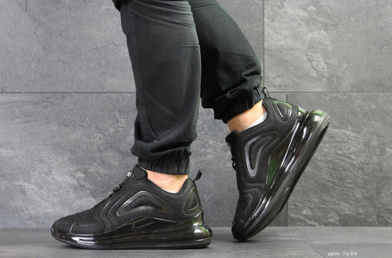 Мужские кроссовки Nike air max 720,плотная сетка,черные 44р