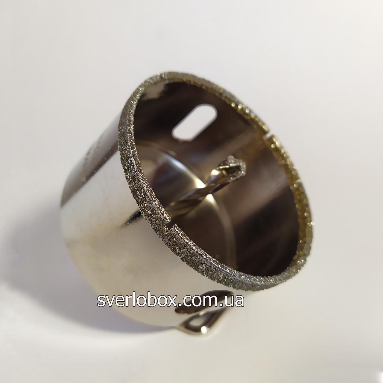 Коронка алмазная по плитке и стеклу 55 мм с направляющим сверлом.
