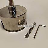 Коронка алмазная по плитке и стеклу 55 мм с направляющим сверлом., фото 3